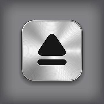 Up arrow icon - vector metal app button