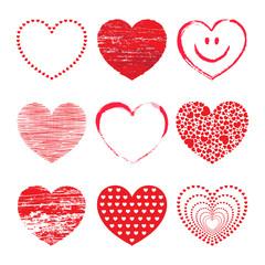 Set aus 9 verschiedenen roten Vektor-Herzen