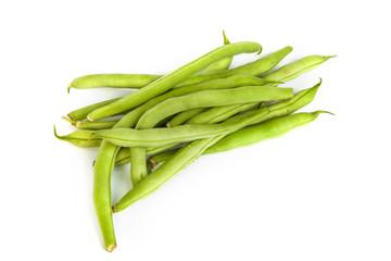 Bunch of fresh green beans on white
