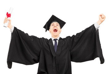 Overjoyed college graduate holding a diploma