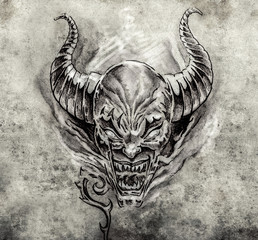 Tattoo art, sketch of a devil with big horns