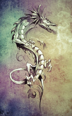 Wall Mural - Sketch of tattoo art, big medieval dragon, fantasy concept over