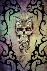 Wall Mural - Tattoo art design, death decorated with tribal forms