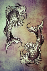 Wall Mural - Sketch of tattoo art, japanese goldfish over colorful paper