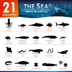 21 Sea animal silhouettes #1