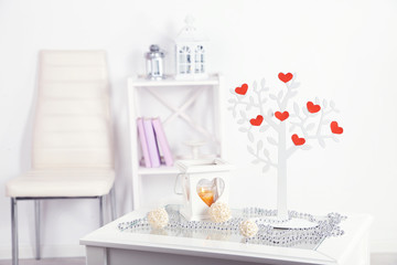 Decorative tree with decorative hearts,