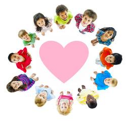 Group of Children Around a Heart