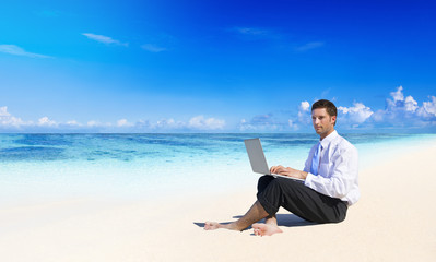 Businessman Working At The Beach