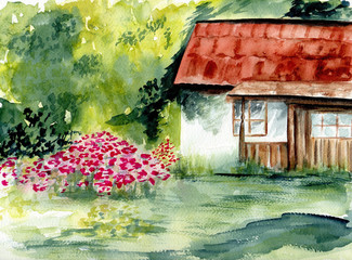 Rustic home. Watercolor