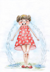 Crying little girl. Children's emotions watercolor.