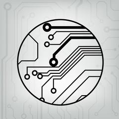 black and gray circuit circle ball background