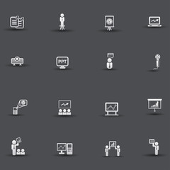 Presentation and business concept icons