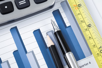 Showing business with financial report and measuring tape
