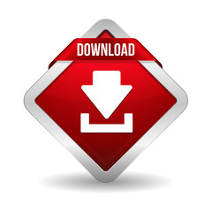 Square red download button with ribbon