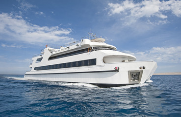 Large luxury catamaran at sea