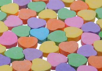 Colorful Hearts. Sweetheart Candy. Valentines Day background