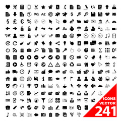 241 VECTOR ICONS (icon set poster business marketing buttons)