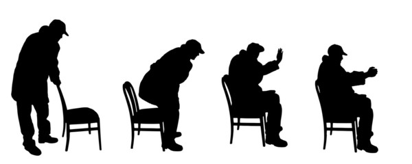 vector silhouette old man