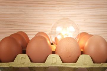 Huevos y bombilla
