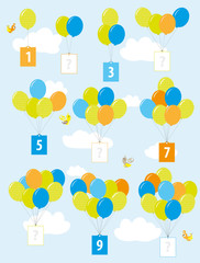 missing numbers - math balloons