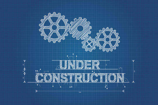 Under construction blueprint, technical drawing with gear wheel