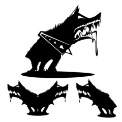 Dog - black, teeth, barking, icon, vector, silhouette, plotter