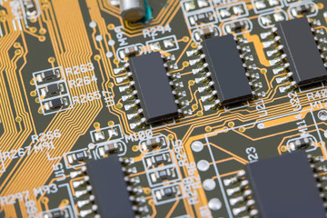 computer motherboard close up