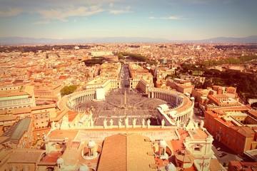 Rome, Italy - Vatican view - cross processing retro color tone