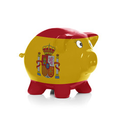 Piggy bank with flag painting over it - Spain