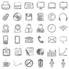 vector set of 36 black sketch icons