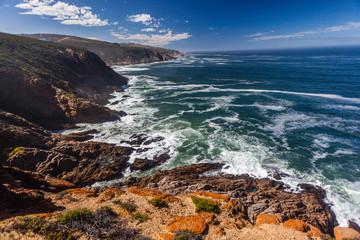 Ocean Waves Blue Rocky Cliffs