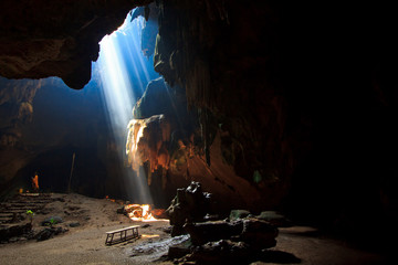 Sunlight into the cave at national park, Thailand