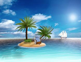 Karibikinsel mit Palmen und Strandkorb