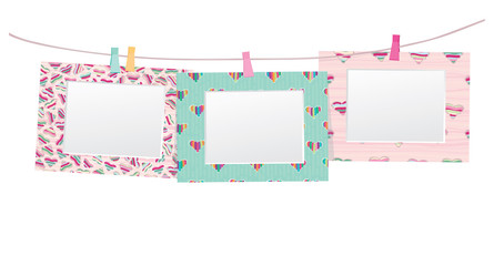 Vector colorful empty photo frames isolated.