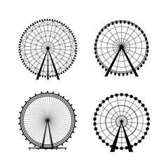 Ferris Wheel from amusement park, vector silhouette