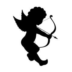 black vector silhouette of a cupid shooting arrow