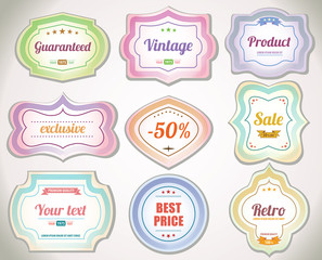 Set of vintage labels and stickers to product. No.01