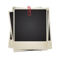 Vector Polaroid photos set with clip
