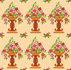 Vase pink flowers seamless