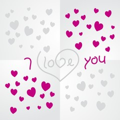 Love you silver magenta background vector