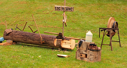Log Hewing Demonstration