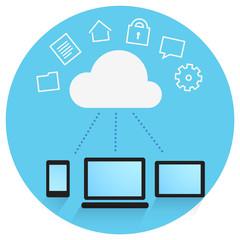 Cloud Storage Concept. Smartphone, Tablet Computer, Laptop