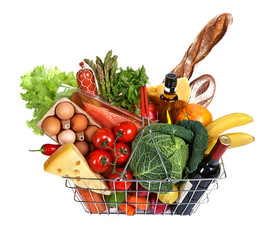 Metal shopping basket with foods