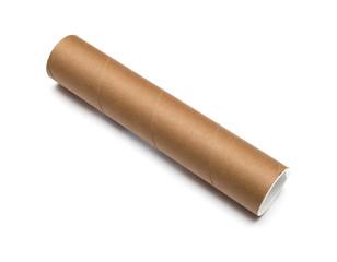 Cardboard tube isolated on white background