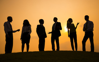 Silhouette of Business People Talking