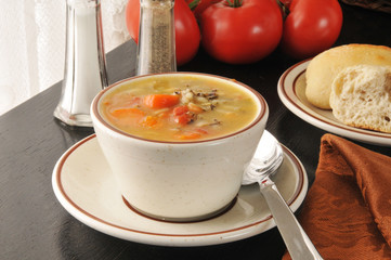 Chicken soup with wild rice