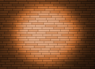 Orange brick wall with spotlight.