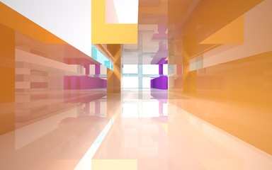 Abstract interior of colored glass