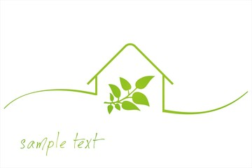 Home , leaves, green icon, business logo design