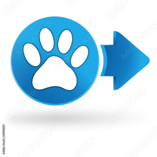 """Super empreinte de chien sur symbole web bleu"""" fichier vectoriel libre  UJ45"""